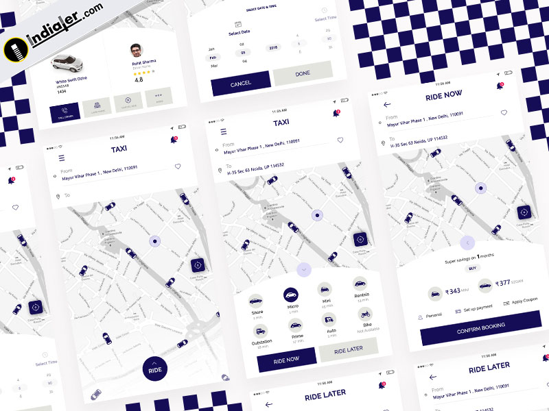 Taxi App UI kit free download PSD Template