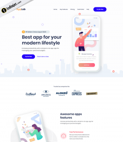 Modern Lifestyle tracking App landing page PSD free