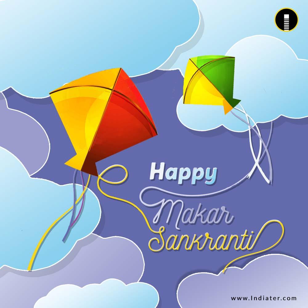 Happy Makar Sankranti Festival Creative with Colorful kite Greetings