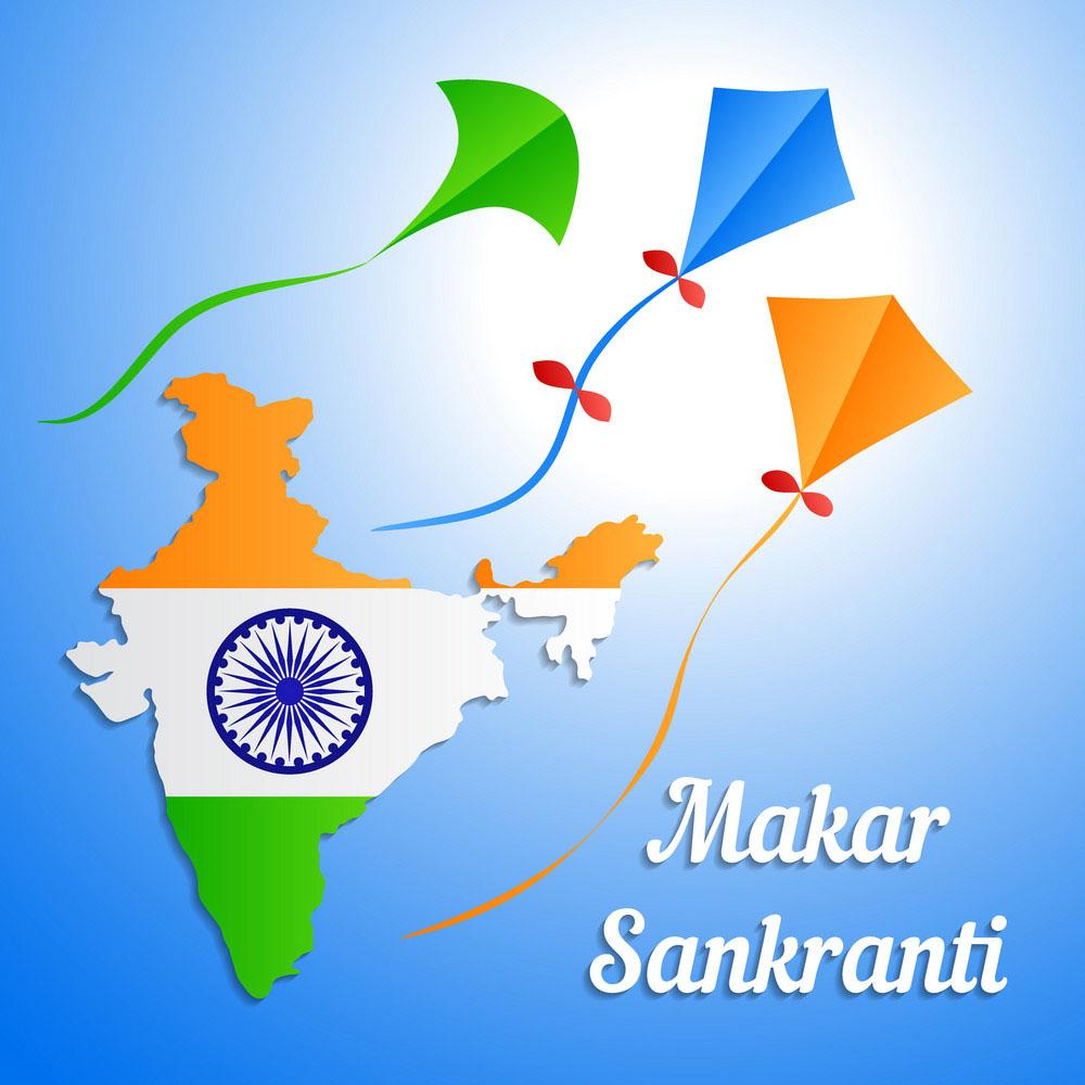 Indian holiday makar sankranti banner or greeting images