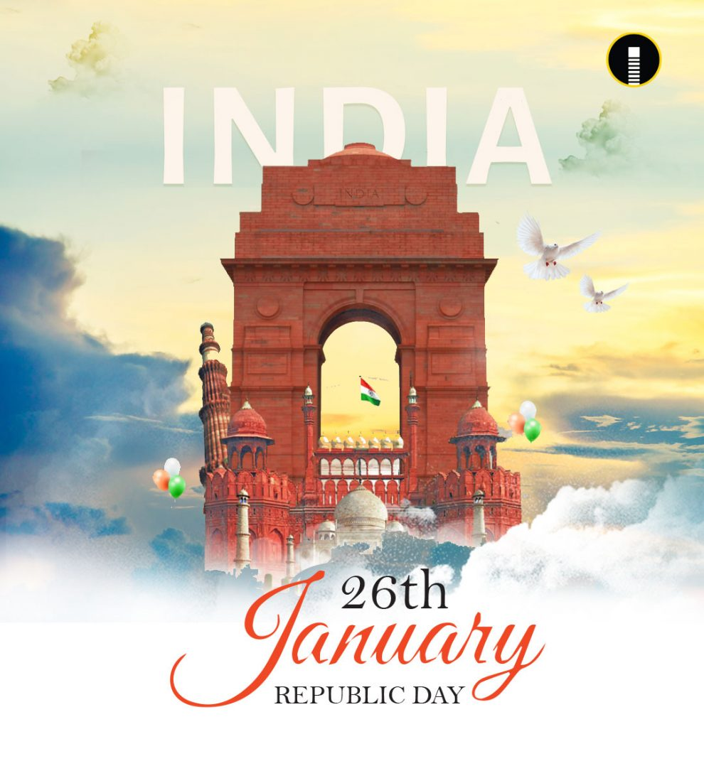 Creative of India Gate made with flying pigeons and other monuments for Indian Republic Day celebration