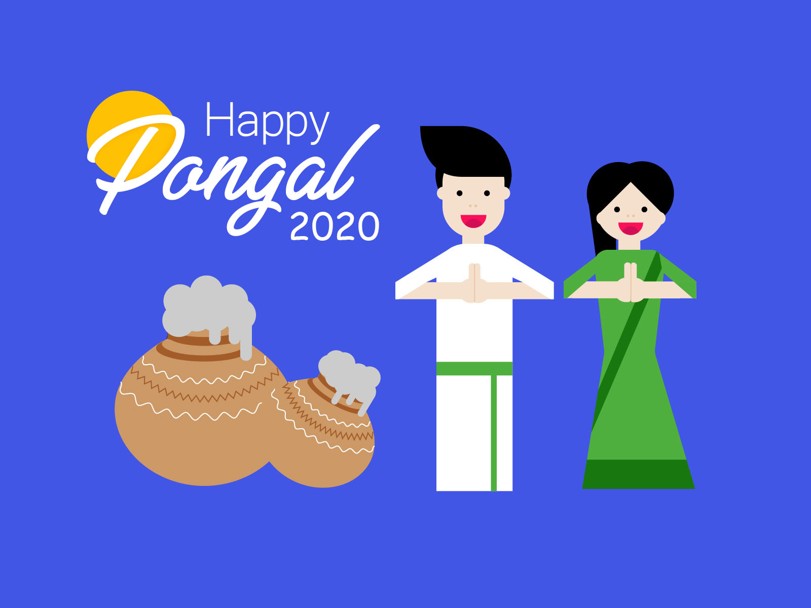Happy Pongal wishes 2020 Greeting image Festival of Tamil Nadu South India