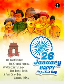 Tricolor India background with Nation Hero and Freedom Fighter for Republic Day