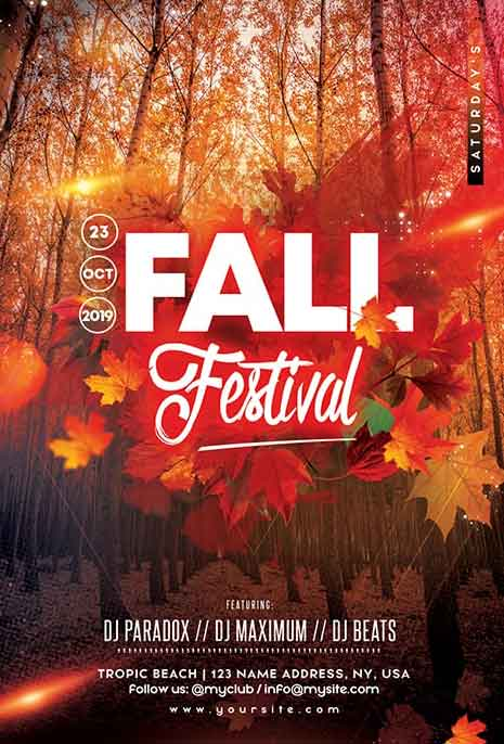 20  free fall festival and party flyer psd designs