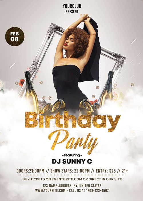 Free Gold & White Birthday Party PSD Flyer Template - Indiater