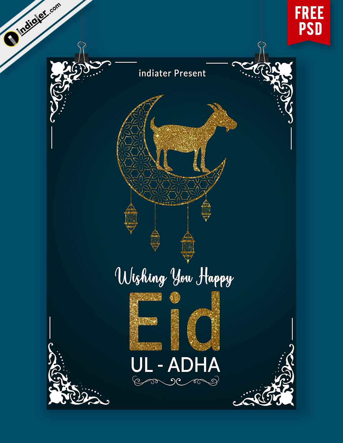 Free Eid Ul Adha Wishes Flyer PSD Template - Indiater